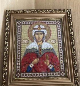 Вышитая бисером икона Святая Дарья
