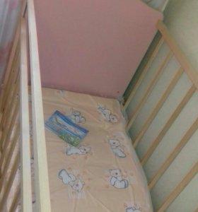 Детская кровать + новый матрас