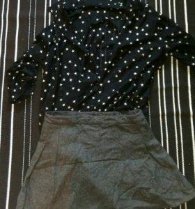 Прозрачная блузка, шерстяная юбка