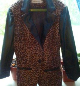 Пиджак леопардовый с кож.вставками