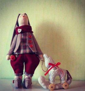 Тильда заяц с лошадкой
