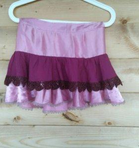юбка мини летняя розовая с кружевом XS