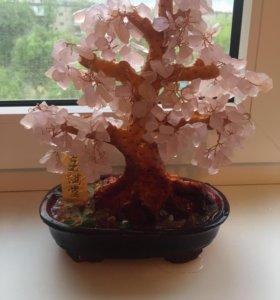 Дерево розовый кварц натуральный