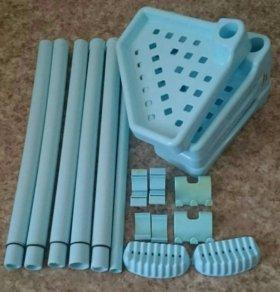 Набор в ванную: стойка, полки, мыльницы и крючки