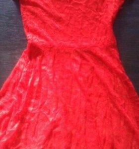 платье гипюр_ красное