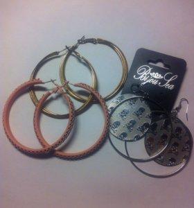 Серьги-кольца, модные