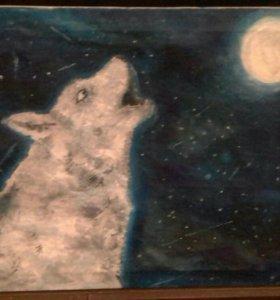 Картина Волк и луна