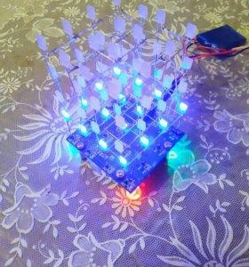 Светодиодный 3D куб 4х4х4