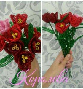 Тюльпаны из бисера. Цветы. Подарок. Сувениры.