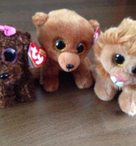 Новые игрушки львёнок, медвежонок, собачка