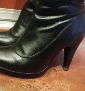 Сапоги черные кожаные еврозима 37 размер