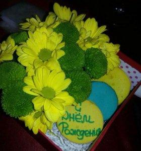 Цветочные коробочки с вкусняшками на заказ