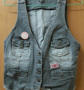 Жилетка джинсовая серая джинсовка
