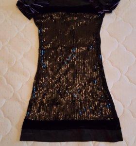 Платье с пайетками черно сиреневого цвета 42 разм