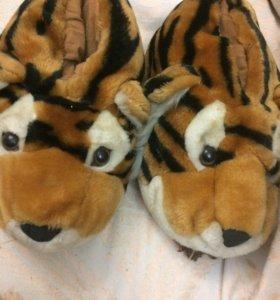 тапочки тигрики домашние