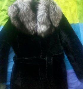 Шубка овчина(мутон)+чернобурка