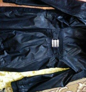 Удлиненная кожанная куртка