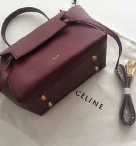Сумка кожаная Celine бордовая