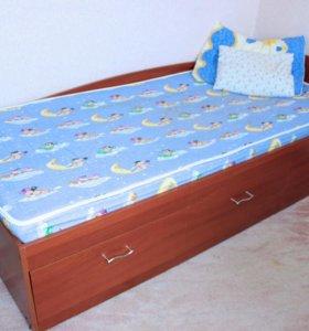 Кровать односпальная матрас