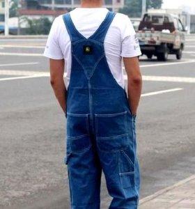 Новые мужские джинсовые комбинезоны на лямках Дж
