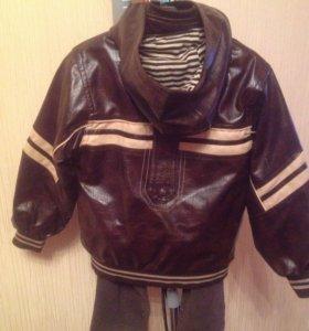 Кожаная куртка+брюки,кофта.