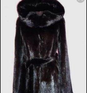 Норковая шуба черная с капюшоном и поясом