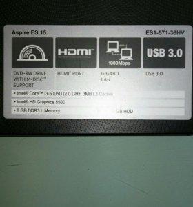 Ноутбук Aser Aspire Es 15 Es1-571-36HV