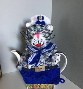 Кот - Матрос на чайник вязаный