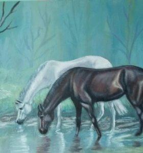 """Картина маслом """"На водопое в туманном лесу""""."""