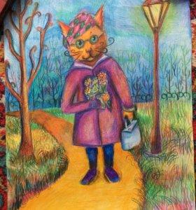 """Картина """"осенний кот"""" 42х30"""