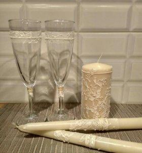 Свечи для семейного очага и свадебные бокалы