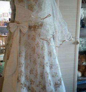 Свадебное платье + перчатки +фата
