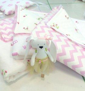 Детское одеяло комплект в кроватку бортики