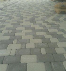 Укладка тротуарной плитки, стяжка.