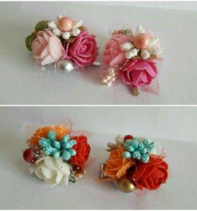 Ободки, заколочки, резиночки из цветочков.