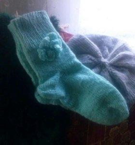 Вязанные вещи:носки, берет.туники на заказ