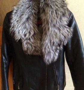 Кожаная зимняя куртка с мехом