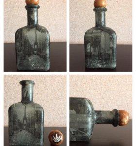 Интерьерная бутылка декупаж ручной работы