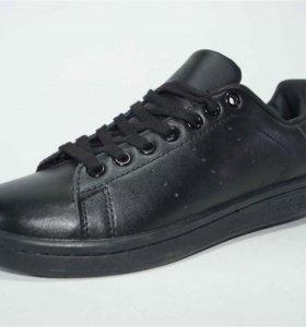 Кроссовки Adidas Stan Smith нат.кожа р.36-41 черн.