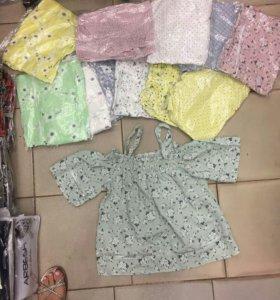 Новый топ блуза рубашка цветы женская майка кружев