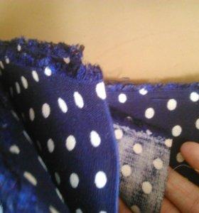 Много мулине и 2 отреза ткани по 3 метра