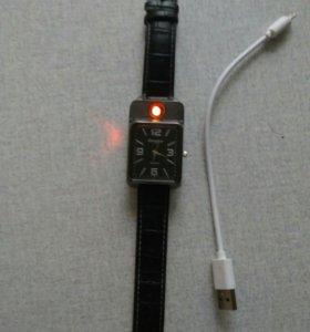 Мужские часы . зажигалка с зарядкой