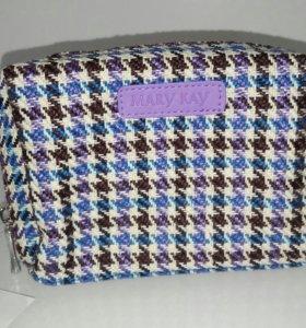 Твидовая сумочка-косметичка фиолетовая