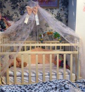 Детская кроватка, балдахин и матрас