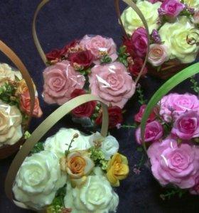 Цветы-мыло в корзинках