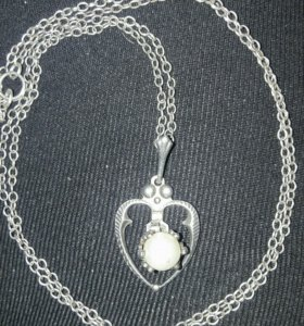 Красивое ожерелье цепь/подвес с жемчугом Винтаж!
