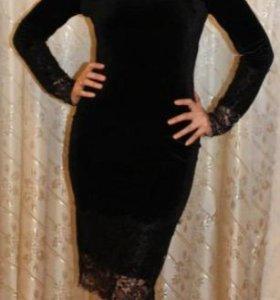 Платье бархат черное новое р-р 40-42