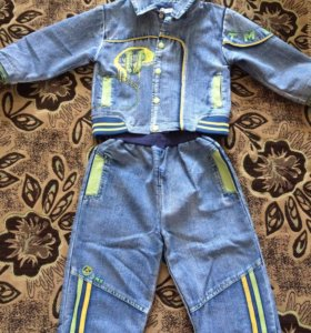 Джинсовый костюм на рост 100см