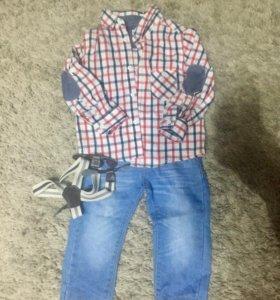 Детские джинсы и рубашка