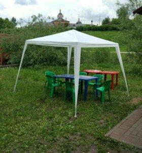 Пластиковые столы, стулья и тент шатер в аренду